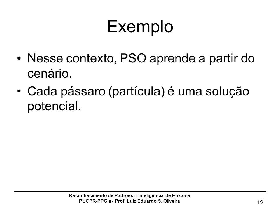 Reconhecimento de Padrões – Inteligência de Enxame PUCPR-PPGIa - Prof. Luiz Eduardo S. Oliveira 12 Exemplo Nesse contexto, PSO aprende a partir do cen