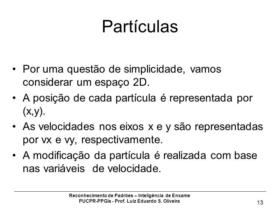 Reconhecimento de Padrões – Inteligência de Enxame PUCPR-PPGIa - Prof. Luiz Eduardo S. Oliveira 13 Partículas Por uma questão de simplicidade, vamos c