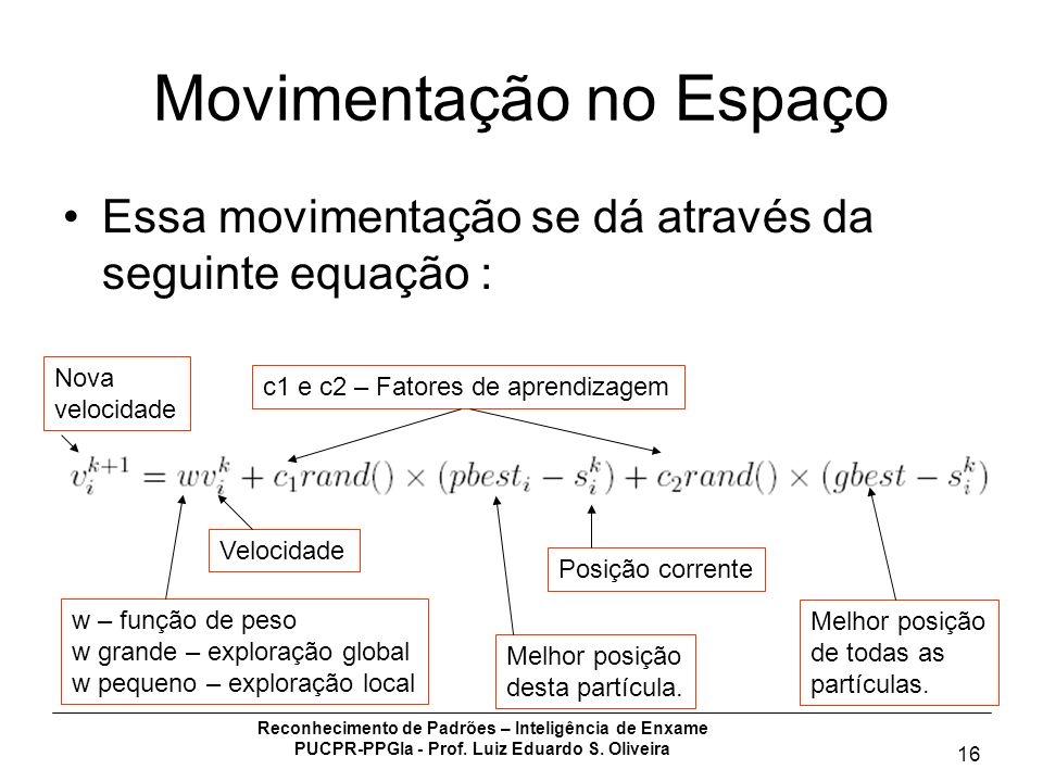 Reconhecimento de Padrões – Inteligência de Enxame PUCPR-PPGIa - Prof. Luiz Eduardo S. Oliveira 16 Movimentação no Espaço Essa movimentação se dá atra