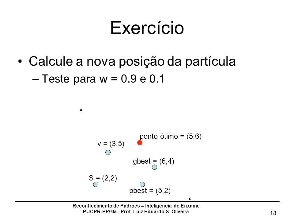 Reconhecimento de Padrões – Inteligência de Enxame PUCPR-PPGIa - Prof. Luiz Eduardo S. Oliveira 18 Exercício Calcule a nova posição da partícula –Test