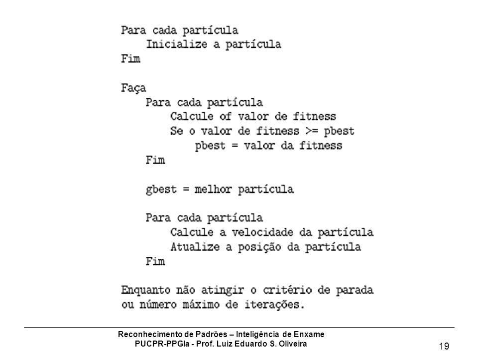 Reconhecimento de Padrões – Inteligência de Enxame PUCPR-PPGIa - Prof. Luiz Eduardo S. Oliveira 19 Algoritmo