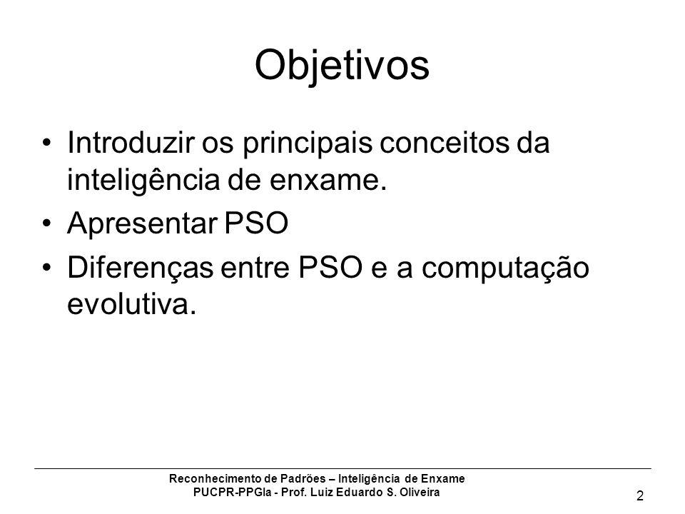 Reconhecimento de Padrões – Inteligência de Enxame PUCPR-PPGIa - Prof. Luiz Eduardo S. Oliveira 2 Objetivos Introduzir os principais conceitos da inte