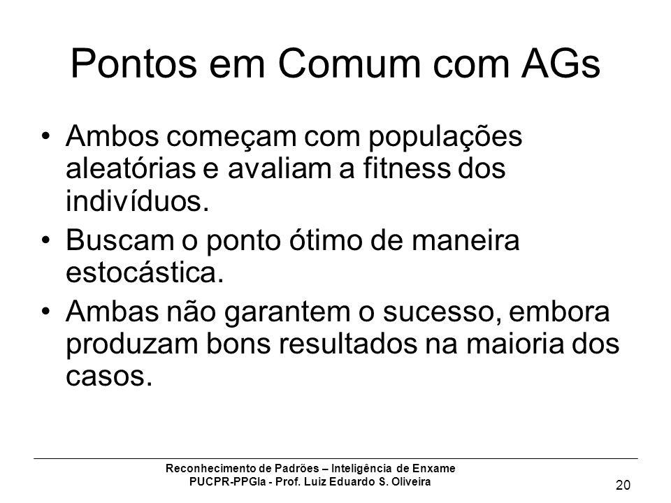 Reconhecimento de Padrões – Inteligência de Enxame PUCPR-PPGIa - Prof. Luiz Eduardo S. Oliveira 20 Pontos em Comum com AGs Ambos começam com populaçõe