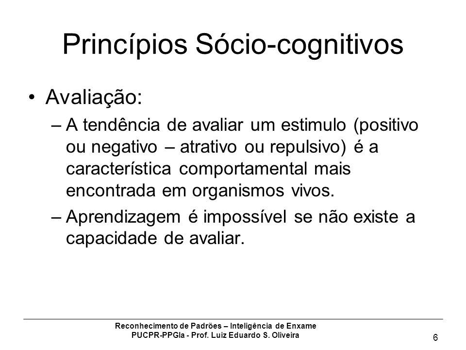 Reconhecimento de Padrões – Inteligência de Enxame PUCPR-PPGIa - Prof. Luiz Eduardo S. Oliveira 6 Princípios Sócio-cognitivos Avaliação: –A tendência