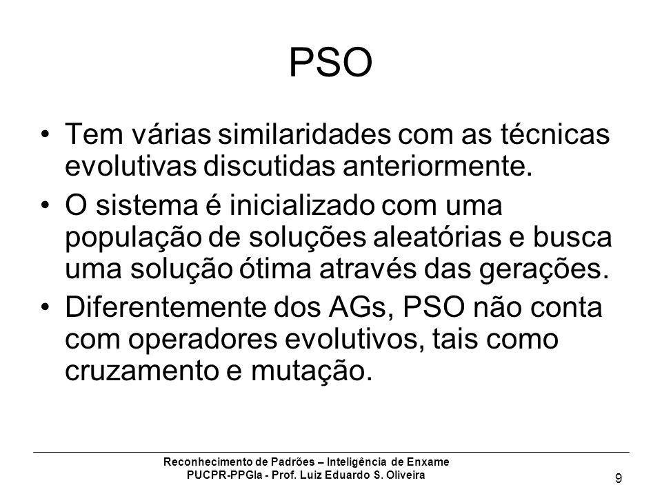 Reconhecimento de Padrões – Inteligência de Enxame PUCPR-PPGIa - Prof. Luiz Eduardo S. Oliveira 9 PSO Tem várias similaridades com as técnicas evoluti