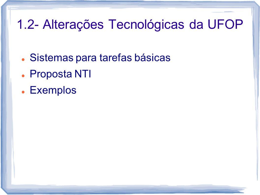 Sistemas para tarefas básicas Proposta NTI Exemplos