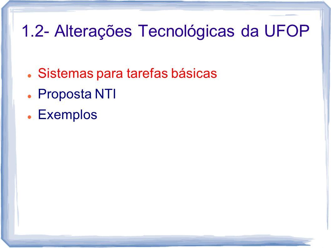 1.2- Alterações Tecnológicas da UFOP Sistemas para tarefas básicas Proposta NTI Exemplos