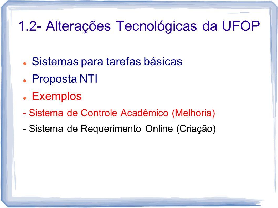 1.2- Alterações Tecnológicas da UFOP Sistemas para tarefas básicas Proposta NTI Exemplos - Sistema de Controle Acadêmico (Melhoria) - Sistema de Reque