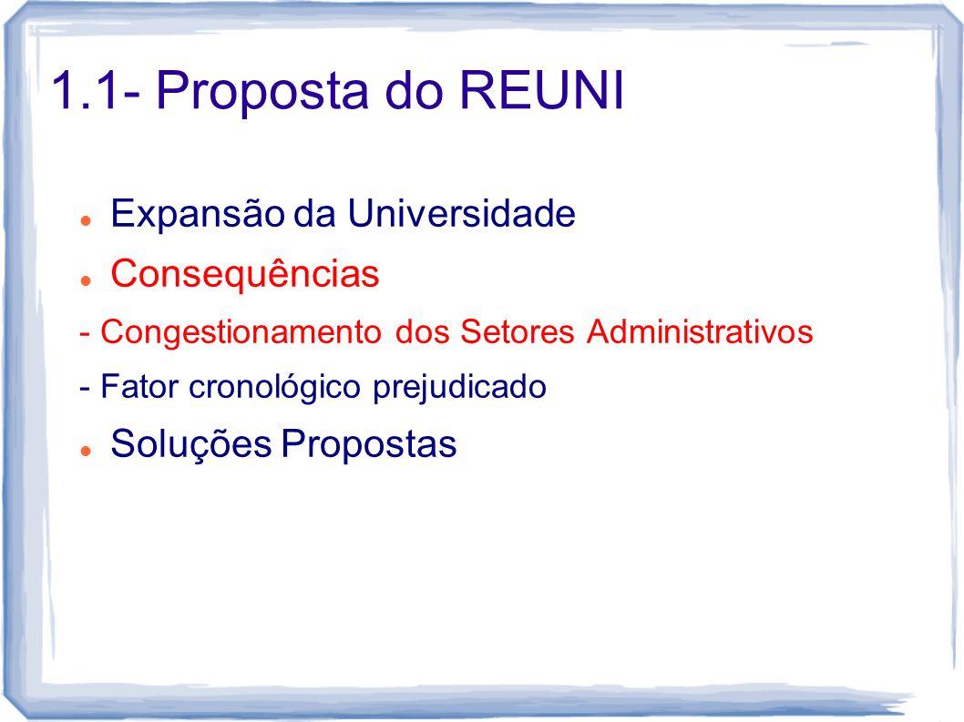 1.1- Proposta do REUNI Expansão da Universidade Consequências - Congestionamento dos Setores Administrativos - Fator cronológico prejudicado Soluções Propostas