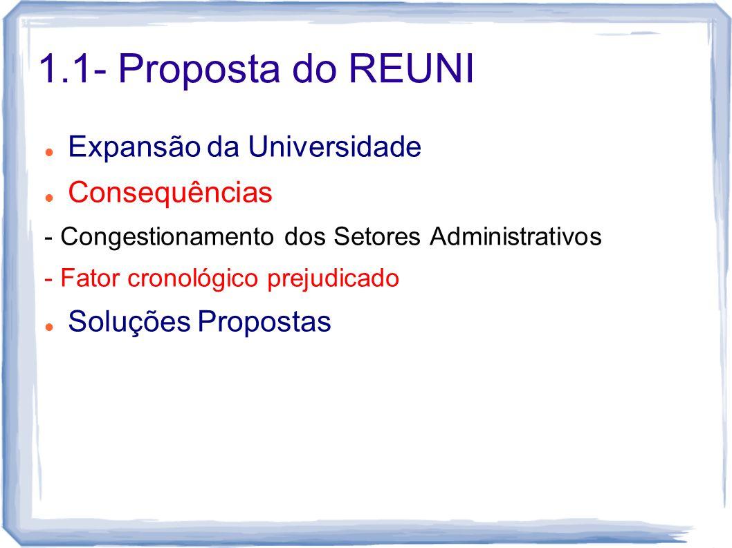 1.1- Proposta do REUNI Expansão da Universidade Consequências - Congestionamento dos Setores Administrativos - Fator cronológico prejudicado Soluções