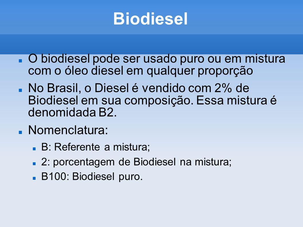 Biodiesel O biodiesel pode ser usado puro ou em mistura com o óleo diesel em qualquer proporção No Brasil, o Diesel é vendido com 2% de Biodiesel em s