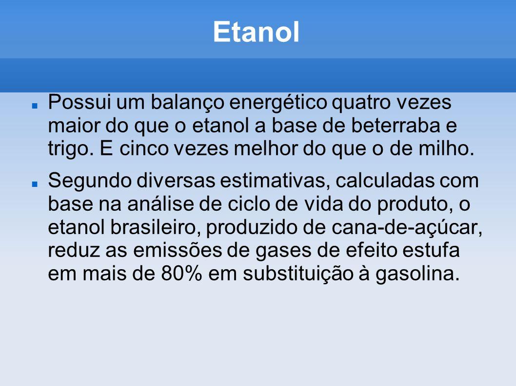 Etanol Possui um balanço energético quatro vezes maior do que o etanol a base de beterraba e trigo. E cinco vezes melhor do que o de milho. Segundo di