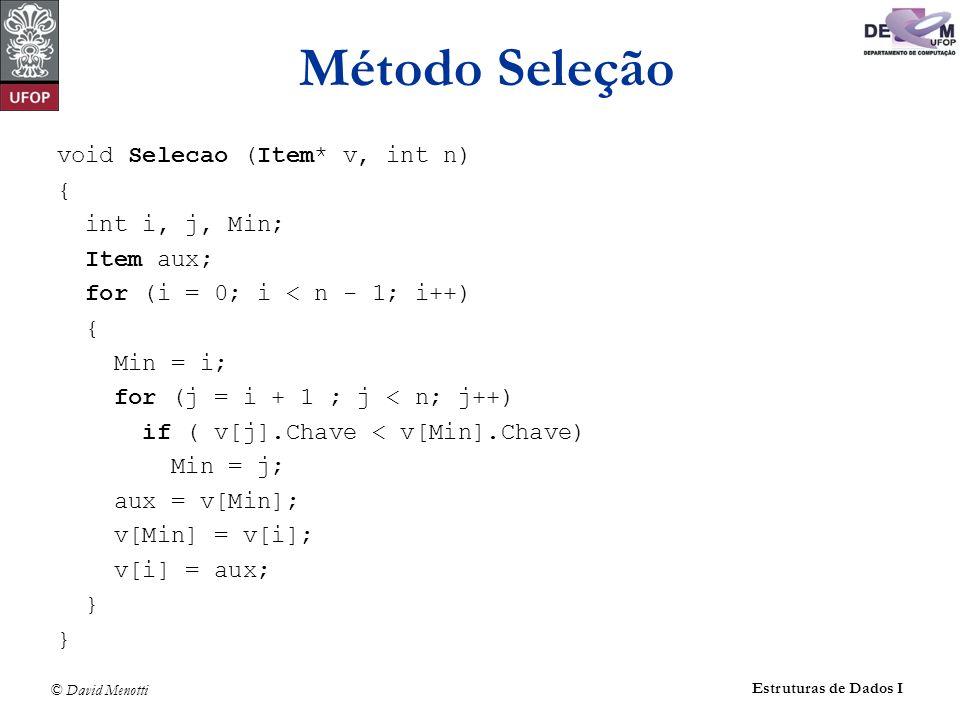 © David Menotti Estruturas de Dados I Método Seleção void Selecao (Item* v, int n) { int i, j, Min; Item aux; for (i = 0; i < n - 1; i++) { Min = i; for (j = i + 1 ; j < n; j++) if ( v[j].Chave < v[Min].Chave) Min = j; aux = v[Min]; v[Min] = v[i]; v[i] = aux; }