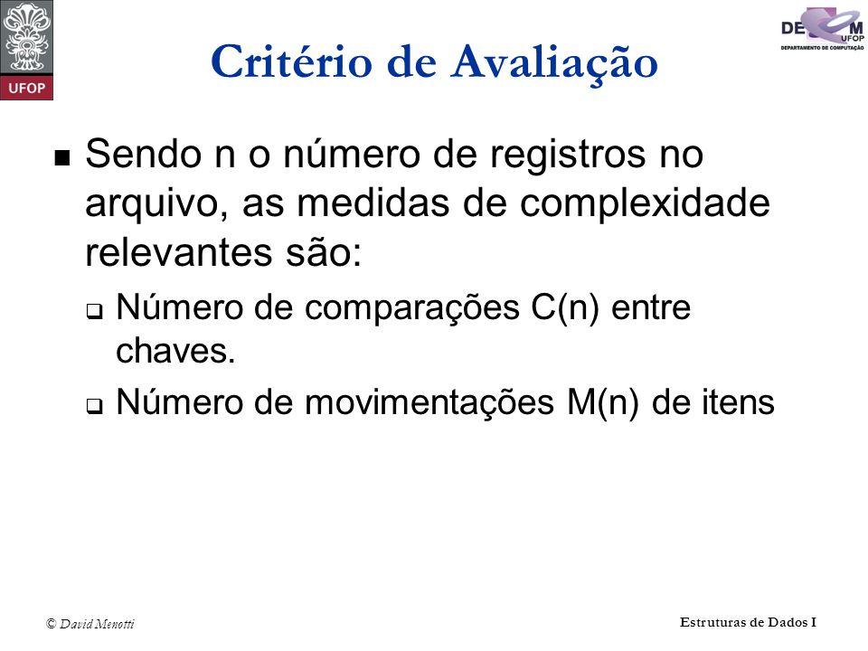 © David Menotti Estruturas de Dados I Critério de Avaliação Sendo n o número de registros no arquivo, as medidas de complexidade relevantes são: Número de comparações C(n) entre chaves.