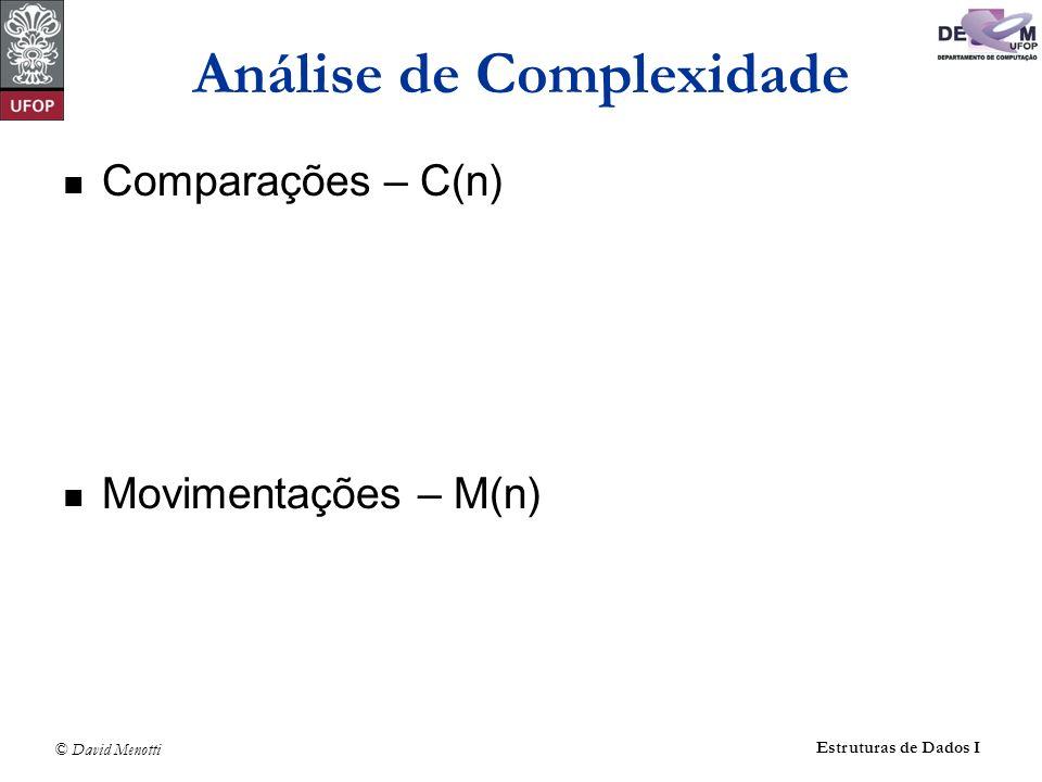 © David Menotti Estruturas de Dados I Método Inserção void Insercao (Item* v, int n ) { int i,j; Item aux; for (i = 1; i < n; i++) { aux = v[i]; j = i - 1; while ( ( j >= 0 ) && ( aux.Chave < v[j].Chave ) ) { v[j + 1] = v[j]; j--; } v[j + 1] = aux; }