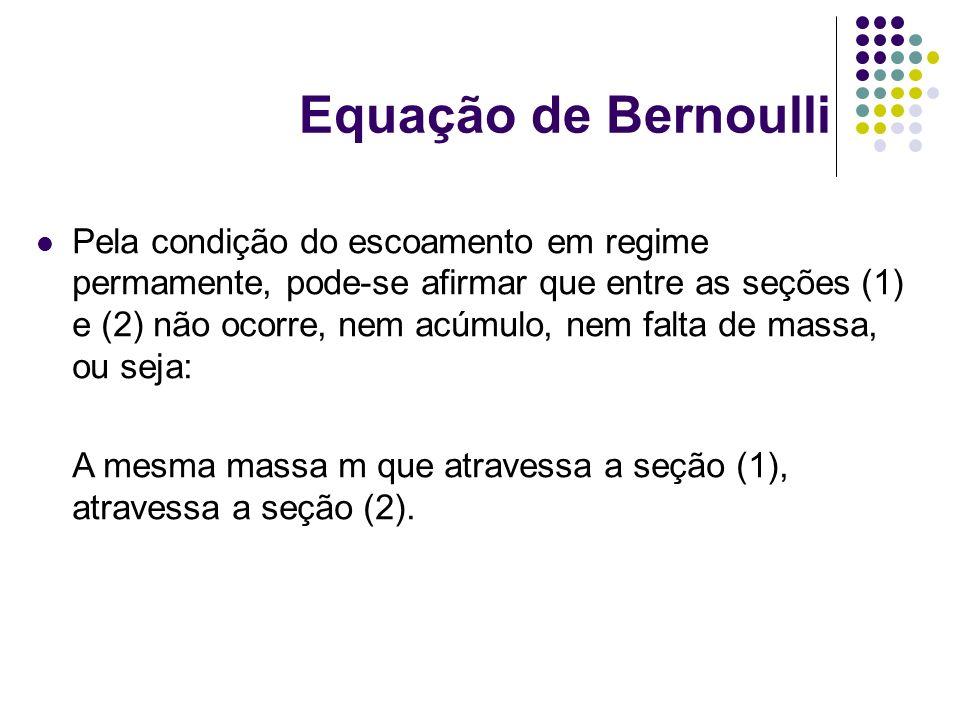 Equação de Bernoulli Pela condição do escoamento em regime permamente, pode-se afirmar que entre as seções (1) e (2) não ocorre, nem acúmulo, nem falt