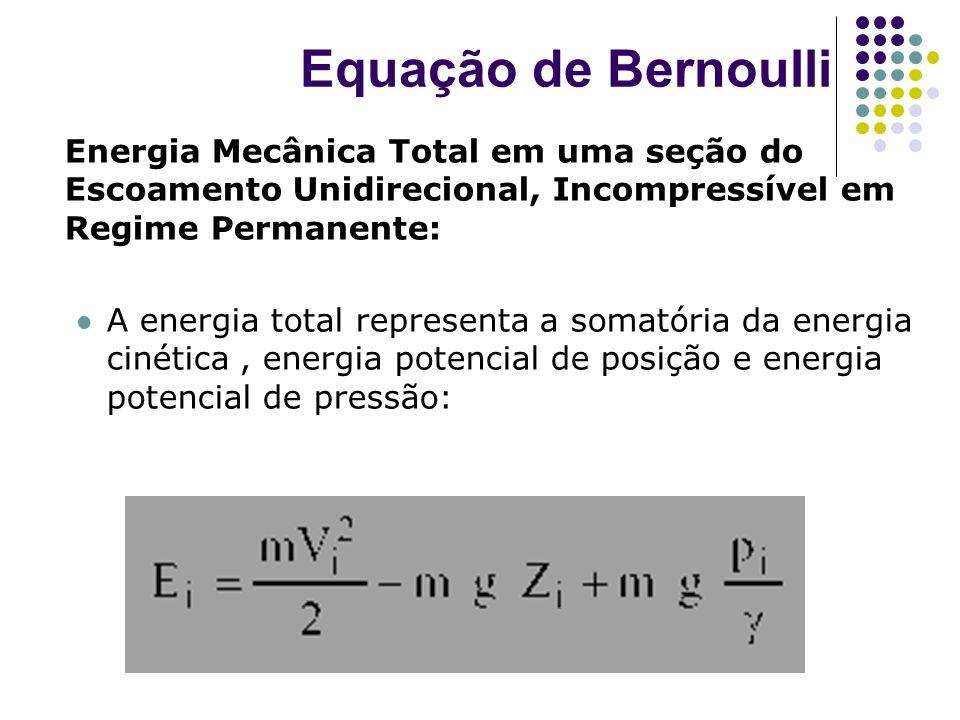 Energia Mecânica Total em uma seção do Escoamento Unidirecional, Incompressível em Regime Permanente: A energia total representa a somatória da energi