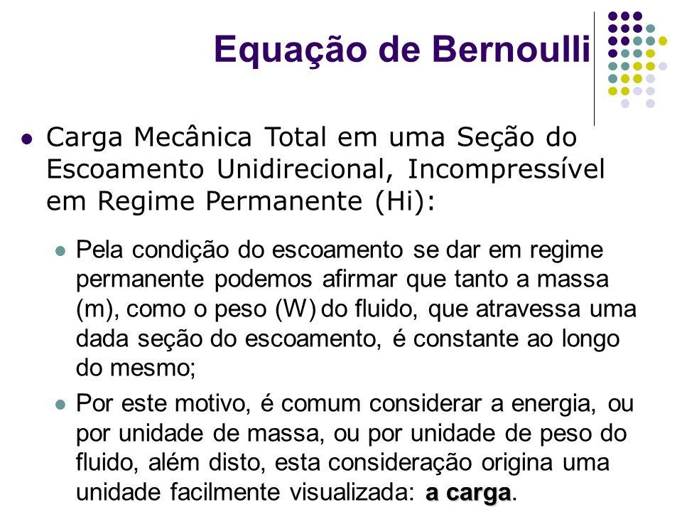 Carga Mecânica Total em uma Seção do Escoamento Unidirecional, Incompressível em Regime Permanente (Hi): Pela condição do escoamento se dar em regime