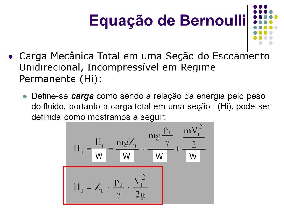 Carga Mecânica Total em uma Seção do Escoamento Unidirecional, Incompressível em Regime Permanente (Hi): Define-se carga como sendo a relação da energ