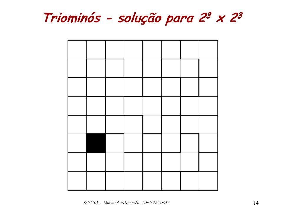 Triominós - solução para 2 3 x 2 3 BCC101 - Matemática Discreta - DECOM/UFOP 14