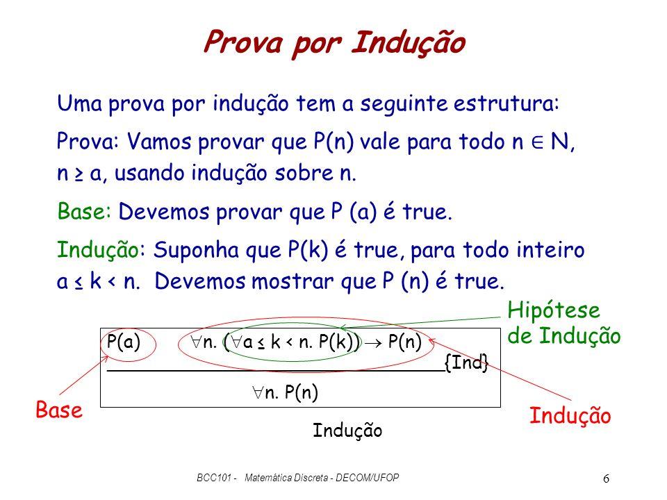 Prova por Indução Uma prova por indução tem a seguinte estrutura: Prova: Vamos provar que P(n) vale para todo n N, n a, usando indução sobre n.