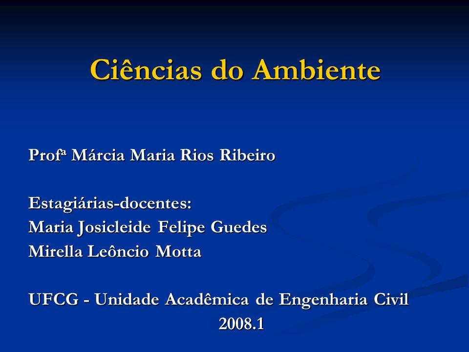 Ciências do Ambiente Prof a Márcia Maria Rios Ribeiro Estagiárias-docentes: Maria Josicleide Felipe Guedes Mirella Leôncio Motta UFCG - Unidade Acadêm
