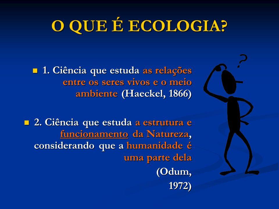 O QUE É ECOLOGIA? 1. Ciência que estuda as relações entre os seres vivos e o meio ambiente (Haeckel, 1866) 1. Ciência que estuda as relações entre os