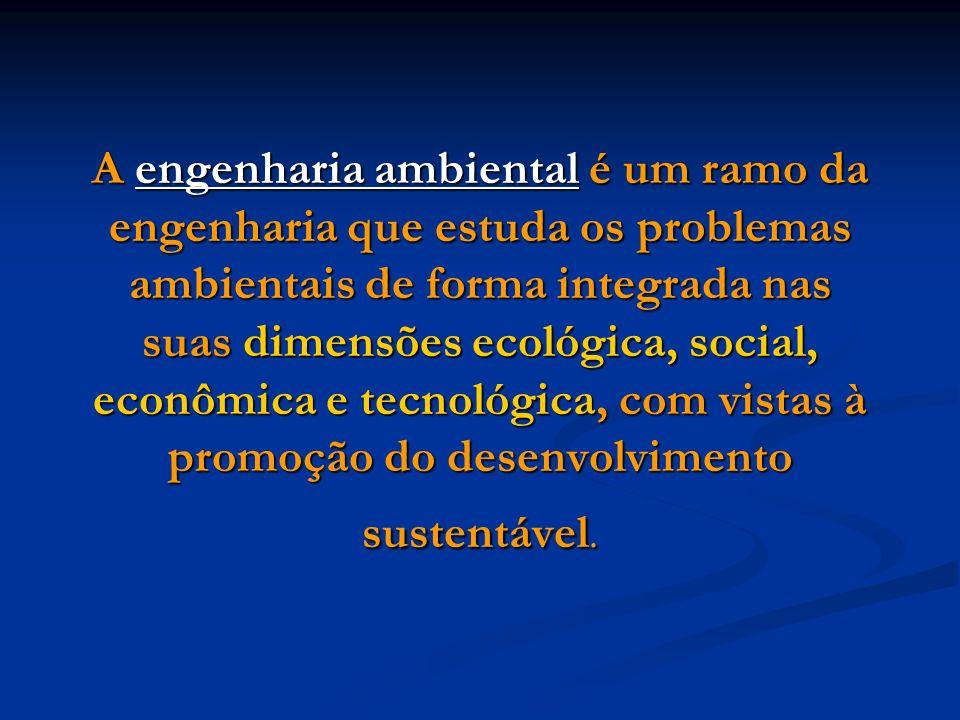 A engenharia ambiental é um ramo da engenharia que estuda os problemas ambientais de forma integrada nas suas dimensões ecológica, social, econômica e