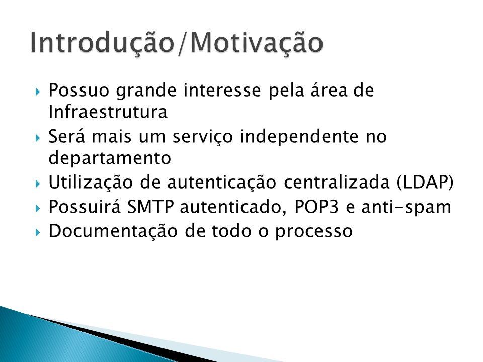 Possuo grande interesse pela área de Infraestrutura Será mais um serviço independente no departamento Utilização de autenticação centralizada (LDAP) Possuirá SMTP autenticado, POP3 e anti-spam Documentação de todo o processo