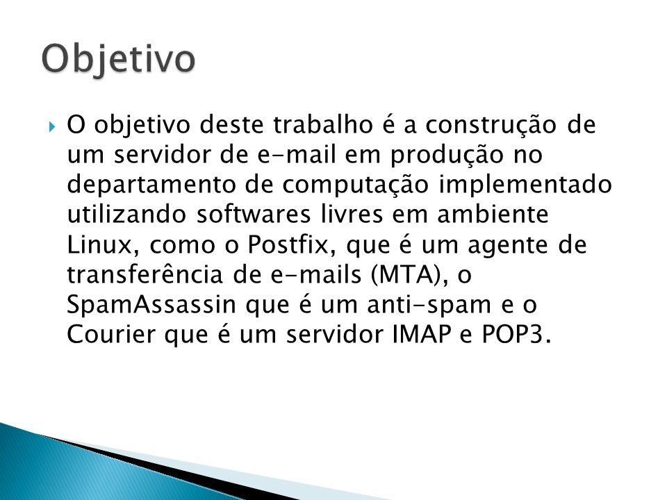 O objetivo deste trabalho é a construção de um servidor de e-mail em produção no departamento de computação implementado utilizando softwares livres em ambiente Linux, como o Postfix, que é um agente de transferência de e-mails (MTA), o SpamAssassin que é um anti-spam e o Courier que é um servidor IMAP e POP3.