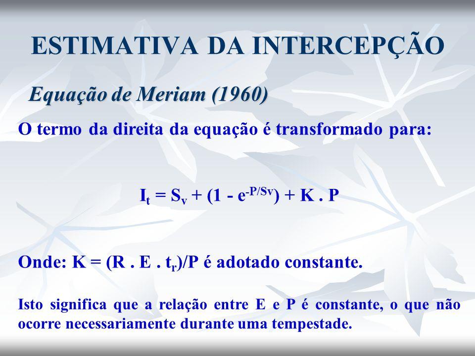 ESTIMATIVA DA INTERCEPÇÃO Equação de Meriam (1960) O termo da direita da equação é transformado para: I t = S v + (1 - e -P/Sv ) + K. P Onde: K = (R.