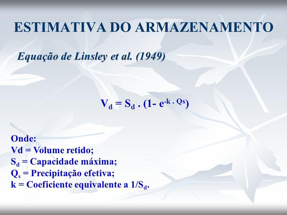 ESTIMATIVA DO ARMAZENAMENTO Equação de Linsley et al. (1949) V d = S d. (1- e -k. Qs ) Onde: Vd = Volume retido; S d = Capacidade máxima; Q s = Precip