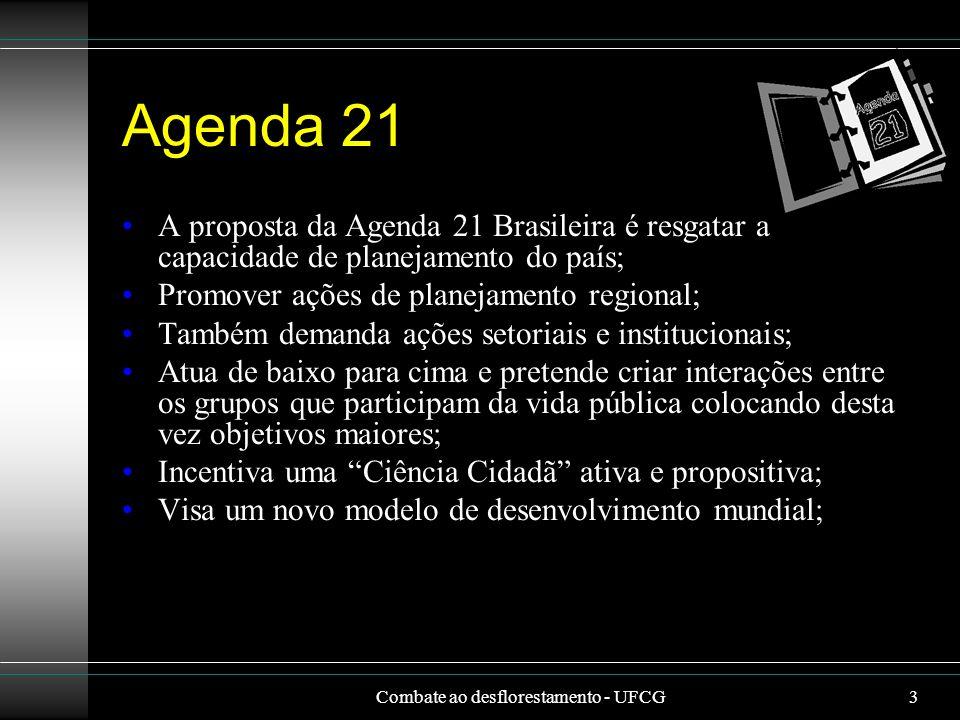 3 Agenda 21 A proposta da Agenda 21 Brasileira é resgatar a capacidade de planejamento do país; Promover ações de planejamento regional; Também demand
