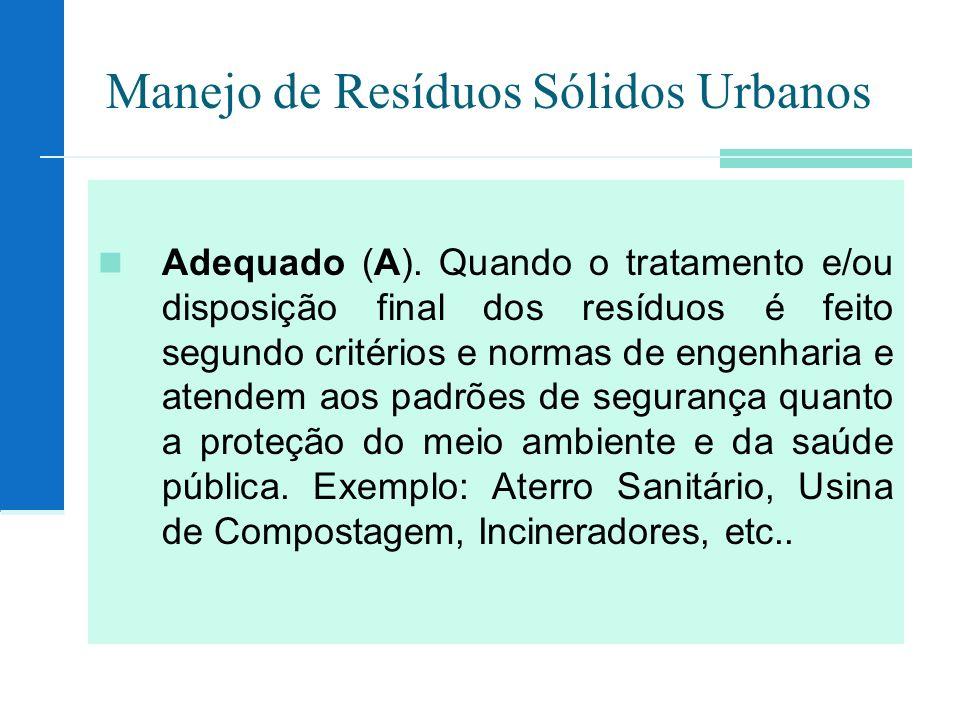 Manejo de Resíduos Sólidos Urbanos Adequado (A). Quando o tratamento e/ou disposição final dos resíduos é feito segundo critérios e normas de engenhar
