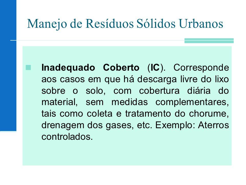 Manejo de Resíduos Sólidos Urbanos Inadequado Coberto (IC). Corresponde aos casos em que há descarga livre do lixo sobre o solo, com cobertura diária