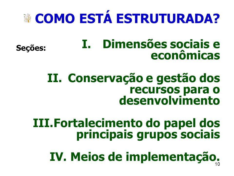 10 COMO ESTÁ ESTRUTURADA? I.Dimensões sociais e econômicas II.Conservação e gestão dos recursos para o desenvolvimento III.Fortalecimento do papel dos