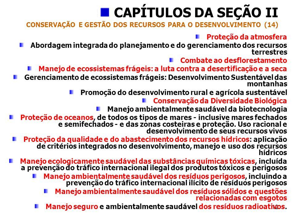 12 CAPÍTULOS DA SEÇÃO II CONSERVAÇÃO E GESTÃO DOS RECURSOS PARA O DESENVOLVIMENTO (14) Proteção da atmosfera Abordagem integrada do planejamento e do