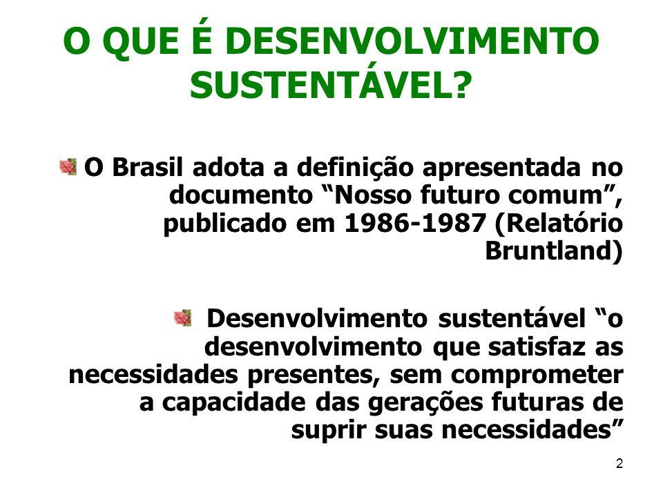 2 O QUE É DESENVOLVIMENTO SUSTENTÁVEL? O Brasil adota a definição apresentada no documento Nosso futuro comum, publicado em 1986-1987 (Relatório Brunt