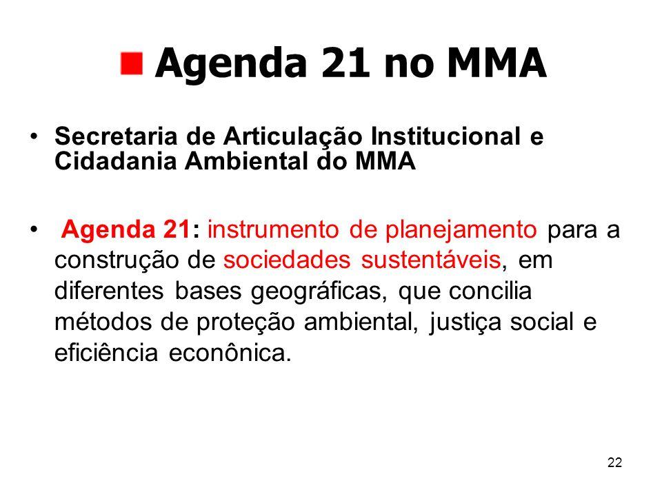 22 Agenda 21 no MMA Secretaria de Articulação Institucional e Cidadania Ambiental do MMA Agenda 21: instrumento de planejamento para a construção de s