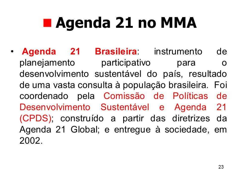 23 Agenda 21 no MMA Agenda 21 Brasileira: instrumento de planejamento participativo para o desenvolvimento sustentável do país, resultado de uma vasta