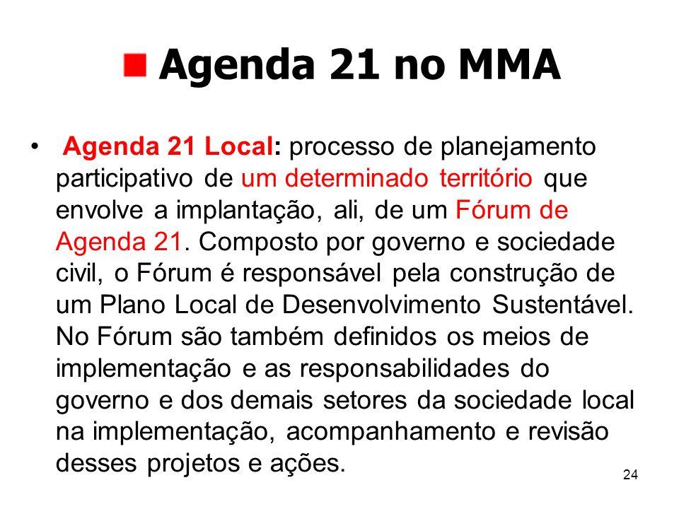 24 Agenda 21 no MMA Agenda 21 Local: processo de planejamento participativo de um determinado território que envolve a implantação, ali, de um Fórum d