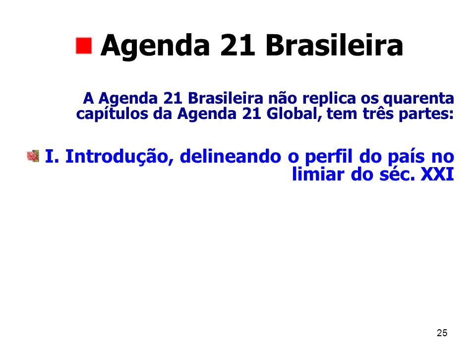 25 Agenda 21 Brasileira A Agenda 21 Brasileira não replica os quarenta capítulos da Agenda 21 Global, tem três partes: I. Introdução, delineando o per