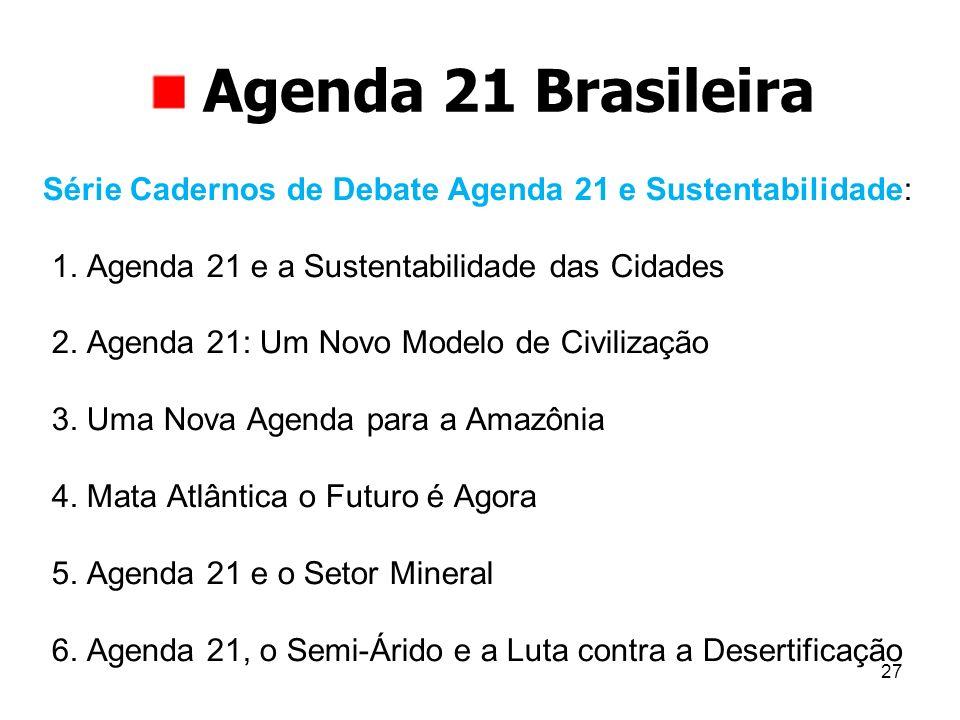 27 Agenda 21 Brasileira Série Cadernos de Debate Agenda 21 e Sustentabilidade: 1. Agenda 21 e a Sustentabilidade das Cidades 2. Agenda 21: Um Novo Mod