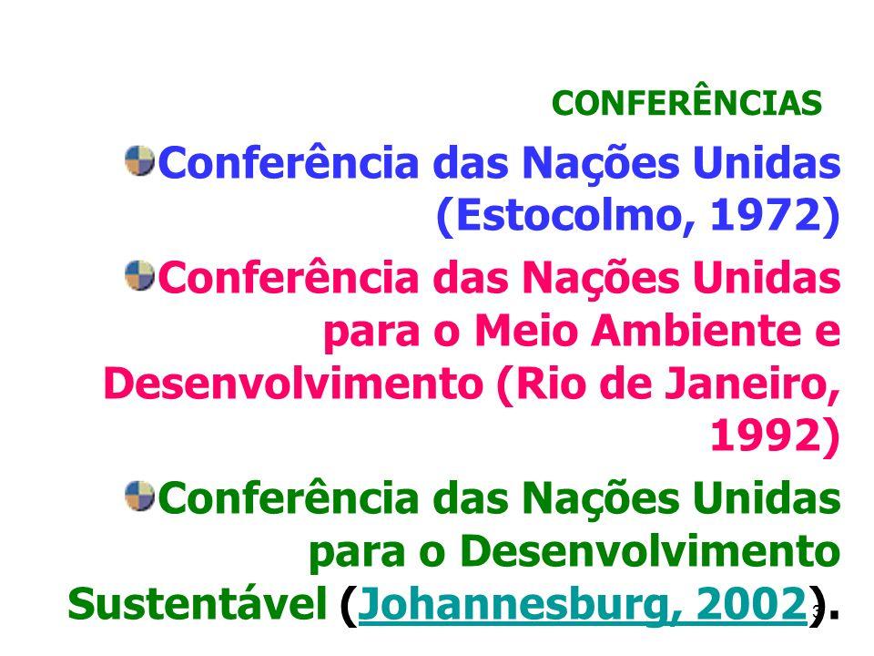 3 CONFERÊNCIAS Conferência das Nações Unidas (Estocolmo, 1972) Conferência das Nações Unidas para o Meio Ambiente e Desenvolvimento (Rio de Janeiro, 1