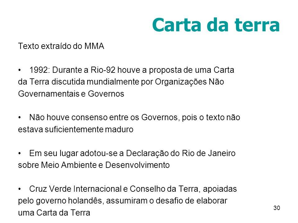 30 Carta da terra Texto extraído do MMA 1992: Durante a Rio-92 houve a proposta de uma Carta da Terra discutida mundialmente por Organizações Não Gove