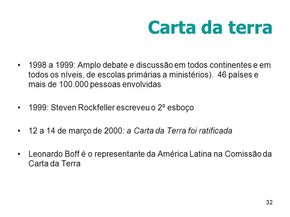 32 Carta da terra 1998 a 1999: Amplo debate e discussão em todos continentes e em todos os níveis, de escolas primárias a ministérios). 46 países e ma