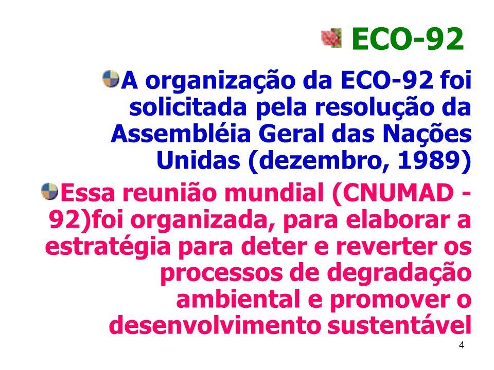 4 ECO-92 A organização da ECO-92 foi solicitada pela resolução da Assembléia Geral das Nações Unidas (dezembro, 1989) Essa reunião mundial (CNUMAD - 9