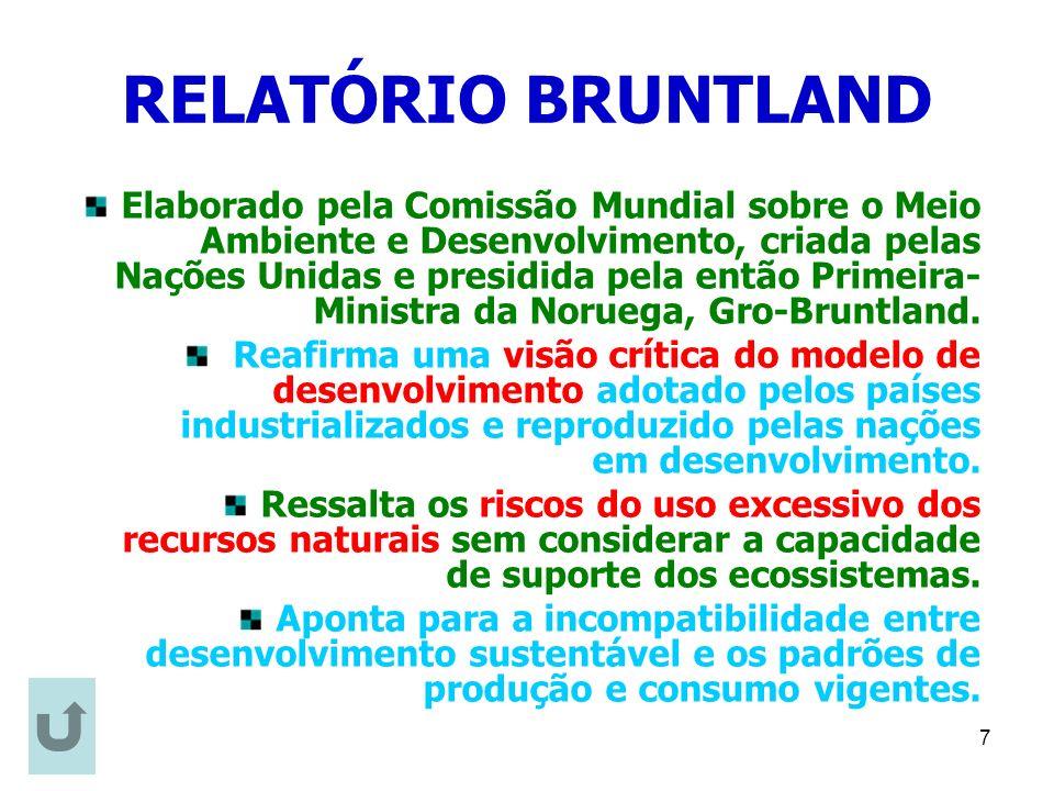 7 RELATÓRIO BRUNTLAND Elaborado pela Comissão Mundial sobre o Meio Ambiente e Desenvolvimento, criada pelas Nações Unidas e presidida pela então Prime