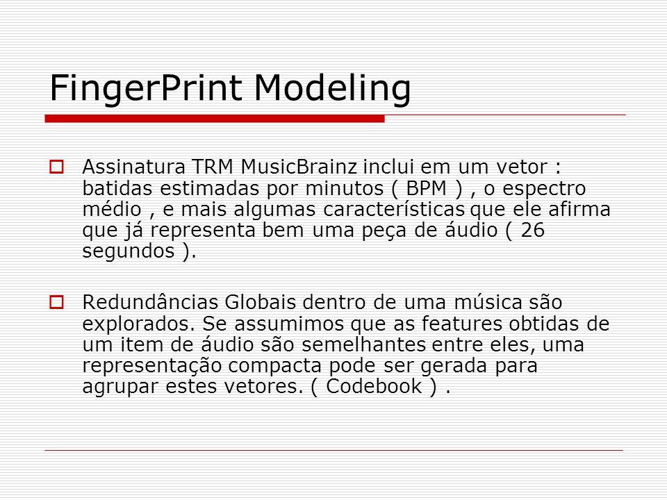 Distancia e Métodos de Busca Métricas de distância estão muito relacionado com o modelo de FingerPrint.