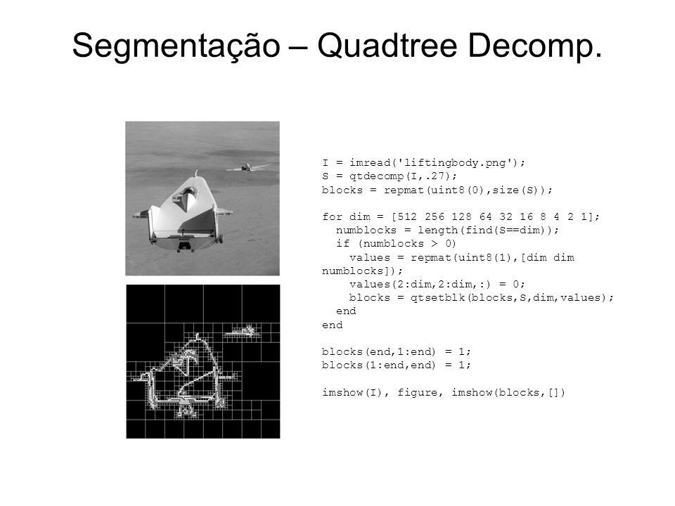 Segmentação – Quadtree Decomp. I = imread('liftingbody.png'); S = qtdecomp(I,.27); blocks = repmat(uint8(0),size(S)); for dim = [512 256 128 64 32 16